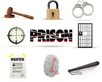 Prison & crime icon set. Prison & crime  icon set isolated Stock Photo