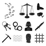 Prison and the criminal black icons in set collection for design.Prison and Attributes vector symbol stock web. Prison and the criminal black icons in set Royalty Free Stock Photos