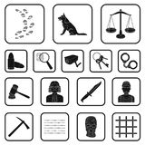 Prison and the criminal black icons in set collection for design.Prison and Attributes vector symbol stock web. Prison and the criminal black icons in set Royalty Free Stock Photo