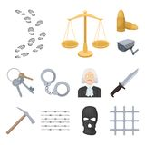 Prison and the criminal cartoon icons in set collection for design.Prison and Attributes vector symbol stock web. Prison and the criminal cartoon icons in set Stock Images
