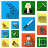 Prison and the criminal flat icons in set collection for design.Prison and Attributes vector symbol stock web. Prison and the criminal flat icons in set Stock Images