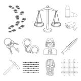 Prison and the criminal outline icons in set collection for design.Prison and Attributes vector symbol stock web. Prison and the criminal outline icons in set Stock Images