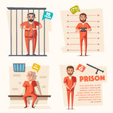 Prison. Criminal in uniform. Cartoon vector illustration. Prison. Cartoon vector illustration. Criminal in orange uniform. Arrest, tribunal and imprisonment. For Royalty Free Stock Photos