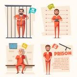 Prison. Criminal in uniform. Cartoon vector illustration Royalty Free Stock Photos