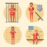 Prison. Criminal in uniform. Cartoon vector illustration. Prison. Cartoon vector illustration. Criminal in orange uniform. Arrest, tribunal and imprisonment. For Royalty Free Stock Photo