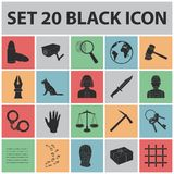 Prison and the criminalblack icons in set collection for design.Prison and Attributes vector symbol stock web. Prison and the criminalblack icons in set Royalty Free Stock Photo