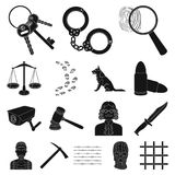 Prison and the criminalblack icons in set collection for design.Prison and Attributes vector symbol stock web. Prison and the criminalblack icons in set Stock Photos