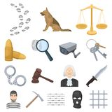 Prison and the criminalcartoon icons in set collection for design.Prison and Attributes vector symbol stock web. Prison and the criminalcartoon icons in set Stock Images