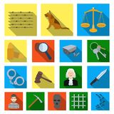 Prison and the criminalflat icons in set collection for design.Prison and Attributes vector symbol stock web. Prison and the criminalflat icons in set collection Stock Images
