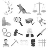 Prison and the criminalmonochrome icons in set collection for design.Prison and Attributes vector symbol stock web. Prison and the criminalmonochrome icons in Royalty Free Stock Images