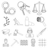 Prison and the criminaloutline icons in set collection for design.Prison and Attributes vector symbol stock web. Prison and the criminaloutline icons in set Royalty Free Stock Photography