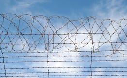 Prison de barbelé ou frontière de sécurité de prison image libre de droits