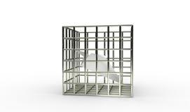 Prison de prison d'avion de papier bloquant l'illustration 3d Photographie stock
