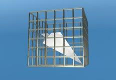Prison de prison d'avion de papier bloquant l'illustration du télégramme 3d Photographie stock