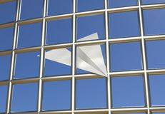 Prison de prison d'avion de papier bloquant l'illustration du télégramme 3d Images libres de droits