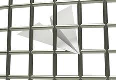 Prison de prison d'avion de papier bloquant l'illustration 3d d'isolement dans le blanc Photographie stock