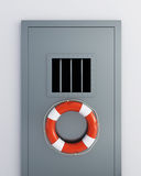 Prison doors life buoy Stock Images