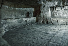 Prison in dungeon on Via Dolorosa, where was prisoner Barabbas Royalty Free Stock Image