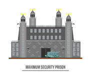 Prison exterior or jail building with towers Royalty Free Stock Photo
