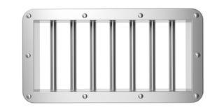 Prison, fenêtre de prison avec les barres argentées industrielles d'isolement sur le fond blanc illustration 3D Image stock