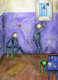 Prison and freedom. Two inmates in a prison cell. Watercolor Stock Images
