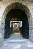 Prison gate. Ancient Chinese prison doors, the Chinese characters meaning: the prison. This old prison is located in  Pingyao, Shanxi, China Stock Photography