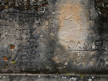 Prison Graffiti, Brazil. Wall etched with prison graffiti, Brazil Stock Photos