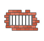 Prison grill and wall. Window in prison with bars. Jail isolated.  Stock Images