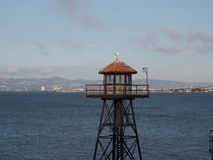 Prison Guard Tower on Bay. An old prison guard tower on Alcatraz Island stock photo