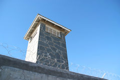 Prison Guard tower from inside jail. A prison guard tower, photograph taken from inside the prison stock photos