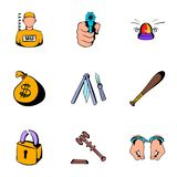 Prison icons set, cartoon style Stock Photos