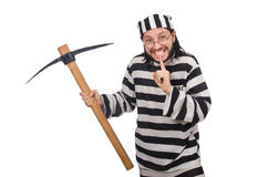 Prison inmate with axe Stock Image