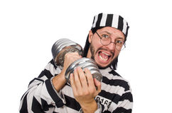 Prison inmate with dumbbells isolated on white Royalty Free Stock Photography