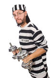 Prison inmate with dumbbells isolated on white Stock Photos