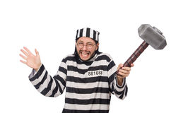 Prison inmate with hammer Stock Photo