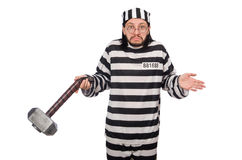 Prison inmate with hammer Stock Photos