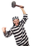 Prison inmate with hammer Royalty Free Stock Photography