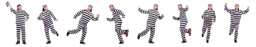 The prison inmate isolated on the white background Stock Photos