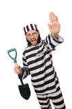 Prison inmate with spade Royalty Free Stock Image