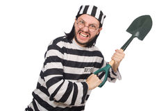 Prison inmate with spade Stock Images