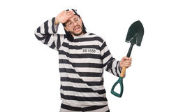 Prison inmate with spade isolated on white Stock Image