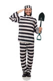 Prison inmate with spade isolated on white Stock Photos