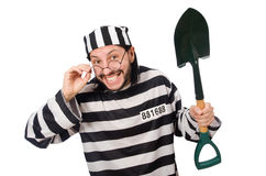 Prison inmate with spade isolated on white Stock Photography