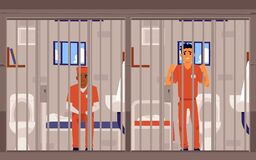 Free Prison Inmates Men Cartoon Characters In Jailhouse, Flat Vector Illustration. Stock Images - 193786394