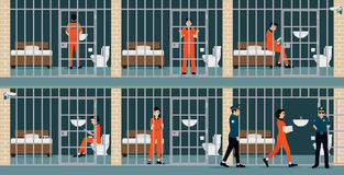 Prison inmates. Are security guards keep watch Royalty Free Stock Photo
