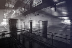 Prison inside, double exposure Stock Images