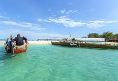 Prison Island in Zanzibar with turquoise water and sail boat. Ta royalty free stock images