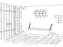 Prison jail interior graphic black white sketch illustration Stock Photo