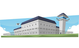 Prison. Jail Penitentiary Building, illustration cartoon royalty free stock photos