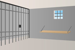 Prison jail room interior window grille illustration. Vector Stock Images